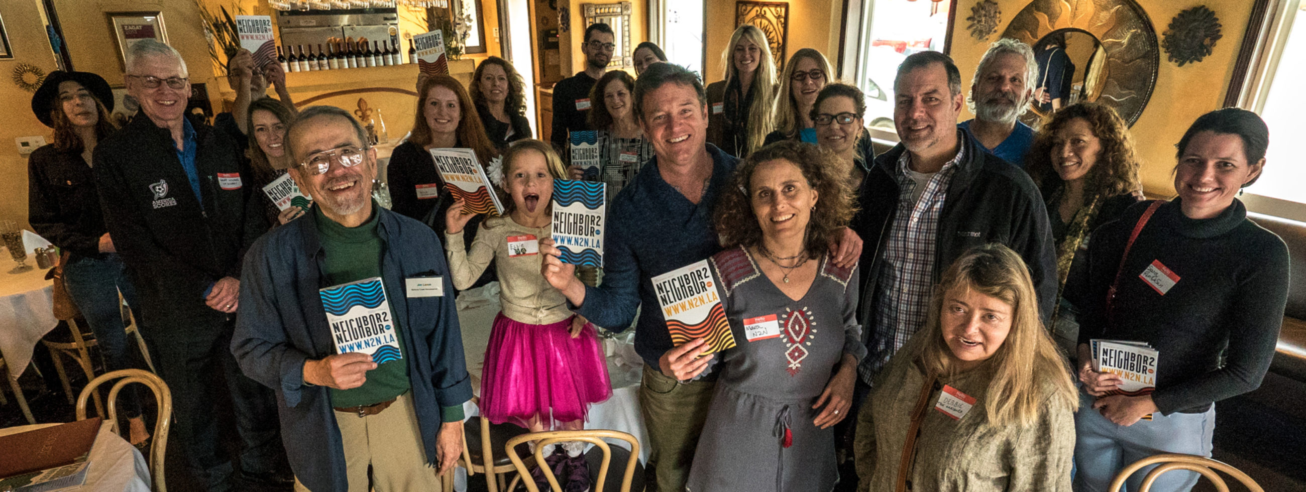 Handpicked business owners and nonprofit directors at the 2018 Neighbor2Neighbor launch party at Soleil French Restaurant in Westwood
