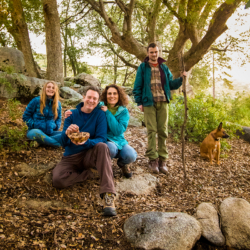 The Schoner-Yardas family underneath a coast live oak in the Santa Monica Mountains.