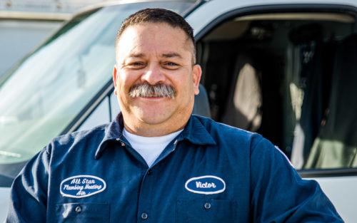 Victor Estrada, owner of All Star Plumbing, in full uniform.