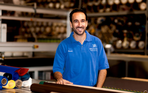 Vatche Azirian, owner of Alpha Productions, in the factory where his family has made retractable awnings since the 1970s.