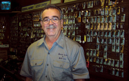 Dennis Smith, owner of Bundy's Lock & Safe, in his West LA shop