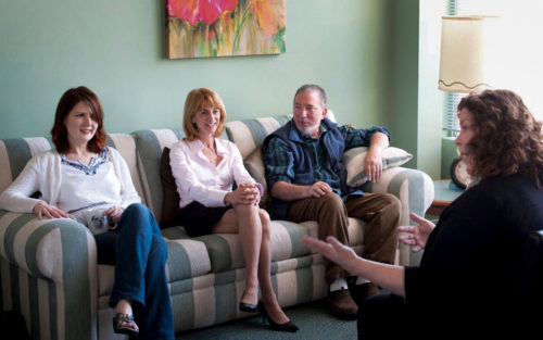 A group therapy session at weSpark Cancer Support Center